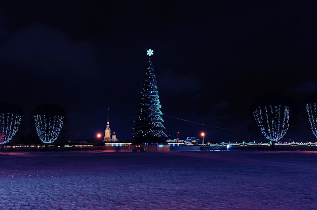 Weihnachtsbaum auf dem spucken von vasilevsky-insel in st petersburg, russland