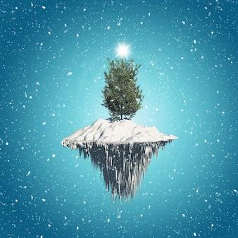 Weihnachtsbaum auf schwimmenden insel