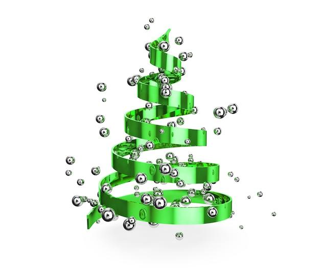 Weihnachtsbaum aus bändern auf weißem hintergrund 3d render