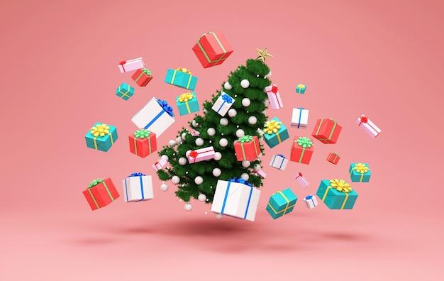 Weihnachtsbaum, der mit haufen von geschenkboxen auf studiohintergrund schwimmt