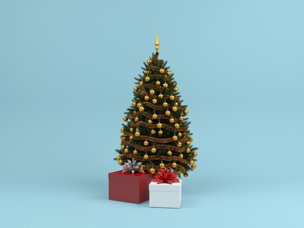Weihnachtsbaum geschenkbox pastell hintergrund