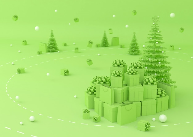 Weihnachtsbaum, geschenkbox und einkaufstüten