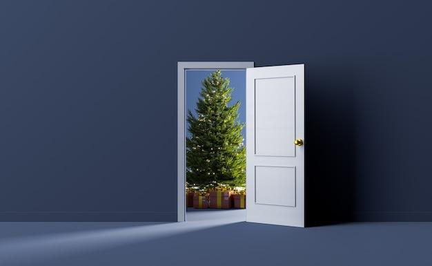 Weihnachtsbaum hinter einer tür