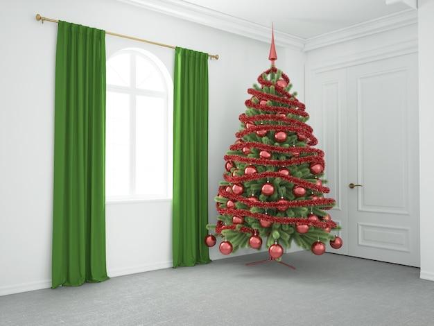 Weihnachtsbaum im luxuriösen wohnzimmer