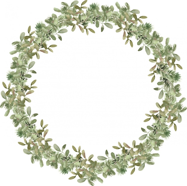 Weihnachtsbaum-kranzzusammensetzung mit kiefern- und fichtenzweigen. winter tanne runden rahmen