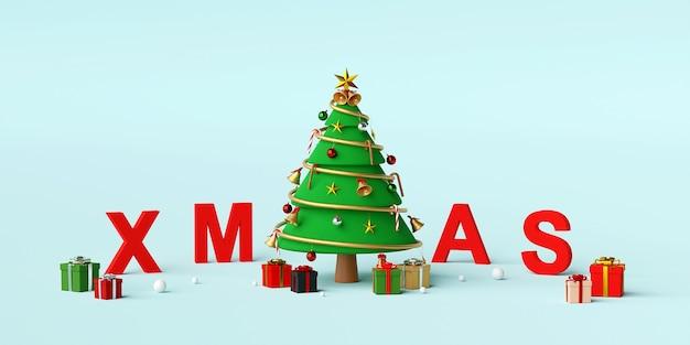 Weihnachtsbaum mit buchstaben xmas 3d rendering