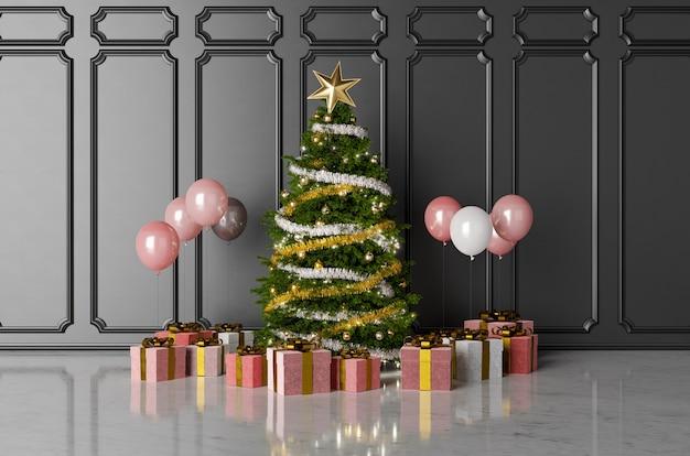 Weihnachtsbaum mit geschenken und luftballons
