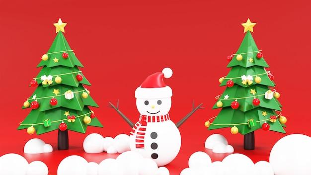 Weihnachtsbaum mit schneemann