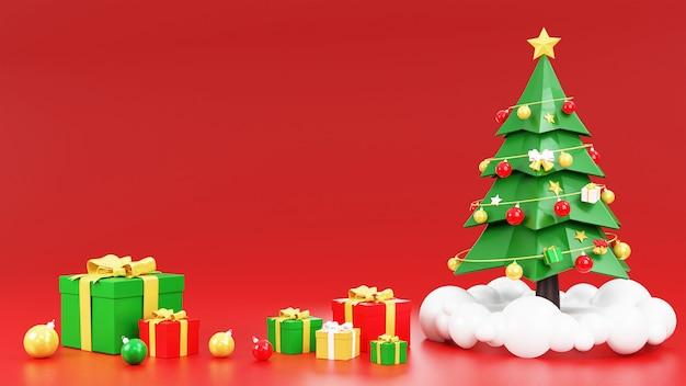Weihnachtsbaum mit weihnachtsschmuck