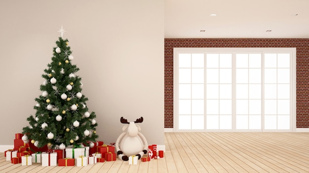 Weihnachtsbaum, renpuppe und geschenkbox im leeren raum
