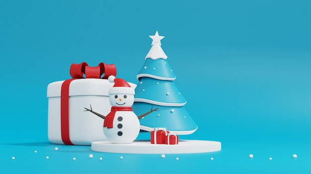 Weihnachtsbaum, schneemann und geschenkbox auf blau Premium Fotos