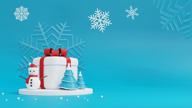 Weihnachtsbaum, schneemann und geschenkbox auf blau