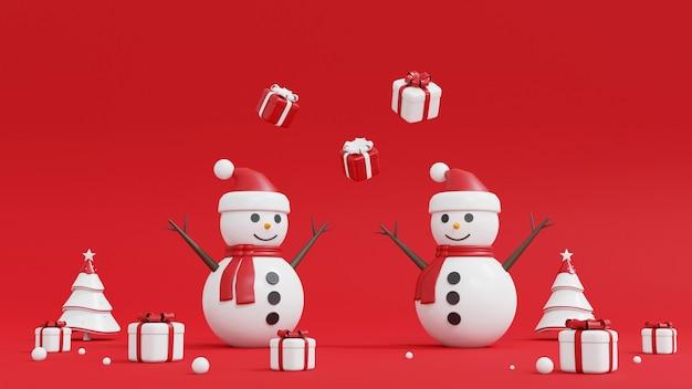 Weihnachtsbaum, schneemann und geschenkbox auf rot