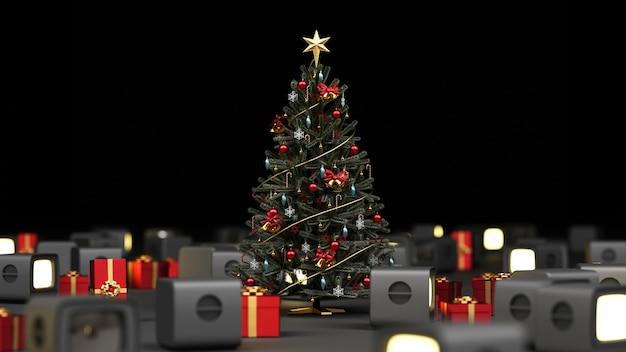 Weihnachtsbaum umgeben von altem fernsehen und roter geschenkbox-wiedergabe