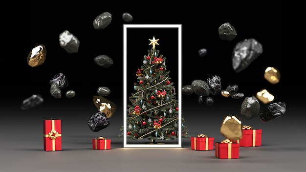 Weihnachtsbaum umgeben von schwarzem marmorfelsen und gold mit roter geschenkbox-darstellung Premium Fotos