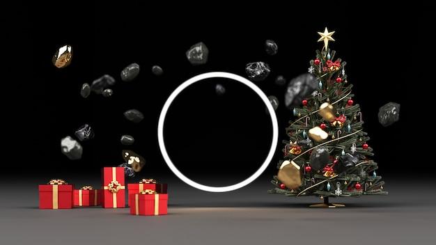 Weihnachtsbaum umgeben von schwarzem marmorfelsen und gold mit roter geschenkbox-darstellung