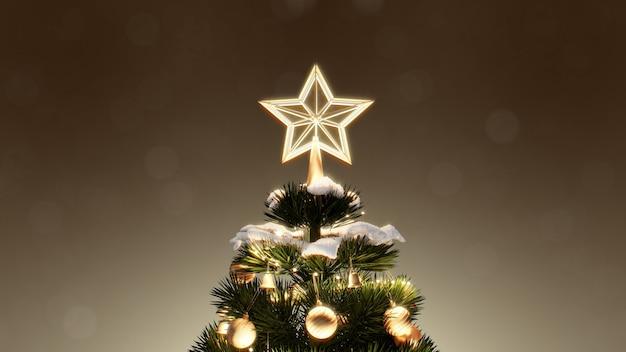 Weihnachtsbaum und dekoration geschenkboxen unter mit bokeh lichter schneefall in der nacht