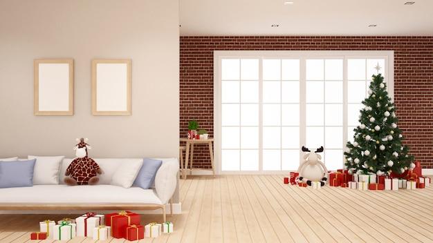 Weihnachtsbaum und geschenk im wohnzimmer