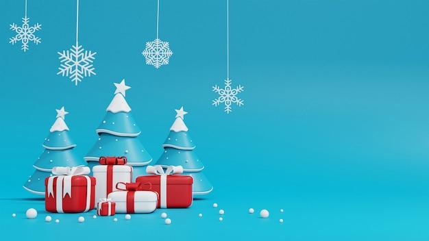 Weihnachtsbaum und geschenkbox auf blau