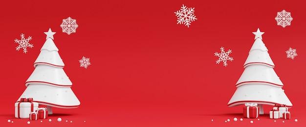 Weihnachtsbaum und geschenkbox auf rot