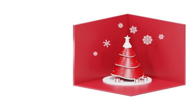 Weihnachtsbaum und geschenkbox auf weiß Premium Fotos