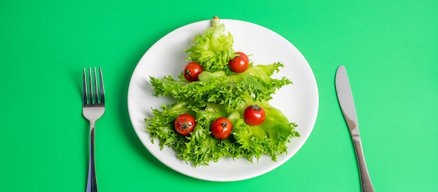 Weihnachtsbaum von bio-eisberg und kirschtomate