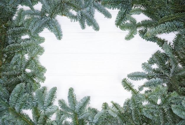 Weihnachtsbaum zweige hintergrund weihnachtskomposition grußkarte