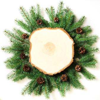Weihnachtsbaumaste und -kegel auf weißem hintergrund.