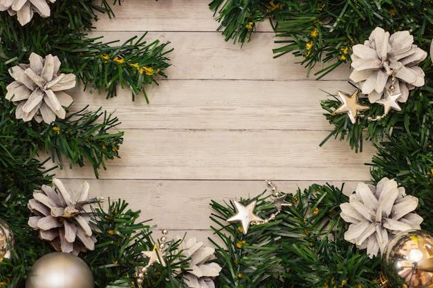 Weihnachtsbaumhintergrund mit kopienraum, draufsicht
