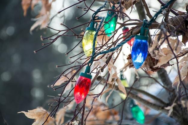 Weihnachtsbeleuchtung am baum weihnachtsdekoration in verschiedenen farben