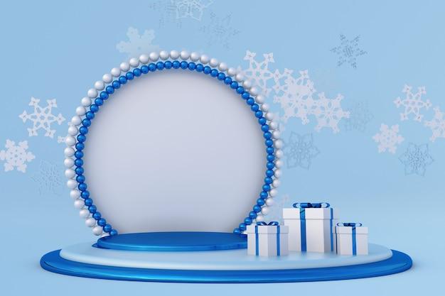 Weihnachtsblaue 3d-komposition mit fliegenden schneeflocken winterpodium perlenbogen festliches neues jahr