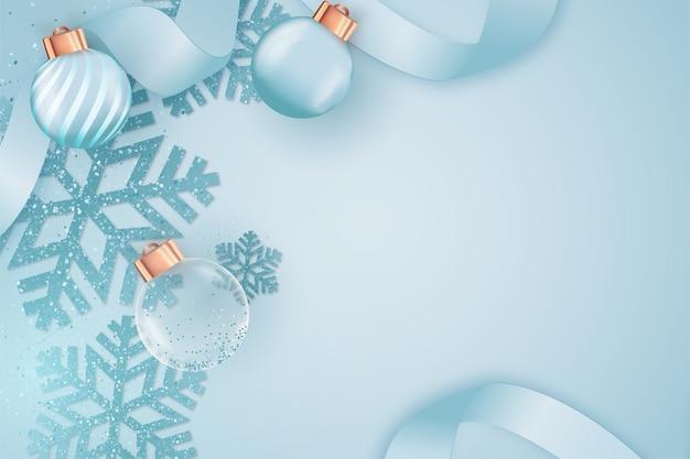 Weihnachtsblauer hintergrund mit weihnachtsdekoration