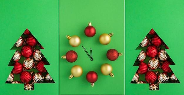 Weihnachtscollage.christmas tree ausgeschnitten auf dem grünen hintergrund und uhr mit roten und goldenen kugeln. nahaufnahme.