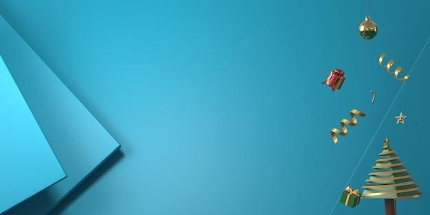 Weihnachtsdekoration der wiedergabe 3d im blauen hintergrund