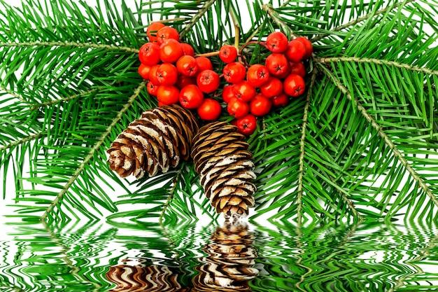 Weihnachtsdekoration mit eberesche auf einem weiß.