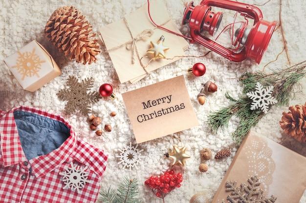Weihnachtsdekoration und wunschkarte
