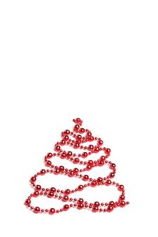 Weihnachtsdekoration, weihnachtsbaum der verzierung mit kugeln auf weißem hintergrund