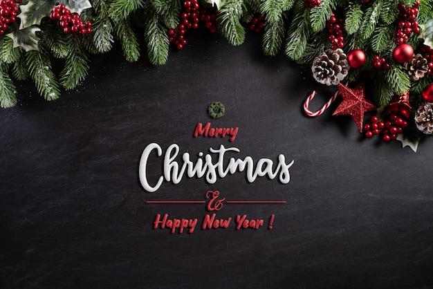 Weihnachtsdekorations-hintergrundkonzept auf schwarzem hölzernem hintergrund.