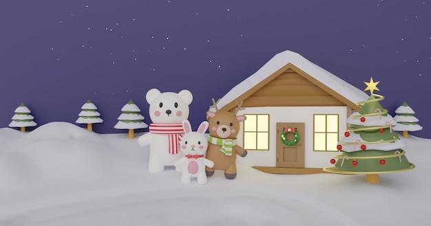Weihnachtsfeier mit kaninchen, rentier und weißem bären für weihnachtskarte, weihnachtshintergrund und fahne. .