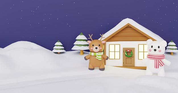 Weihnachtsfeier mit rentier und weißem bären für weihnachtskarte, weihnachtshintergrund und banner. .