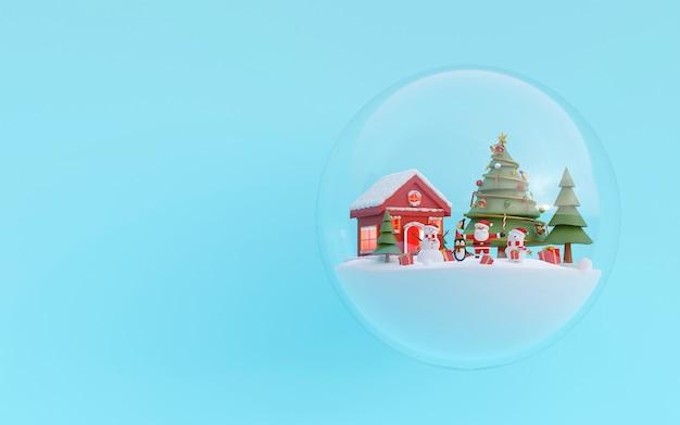 Weihnachtsfeier mit weihnachtsmann und freund in einer 3d-darstellung der schneekugel