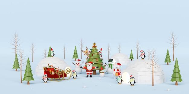 Weihnachtsfeier mit weihnachtsmann und freund