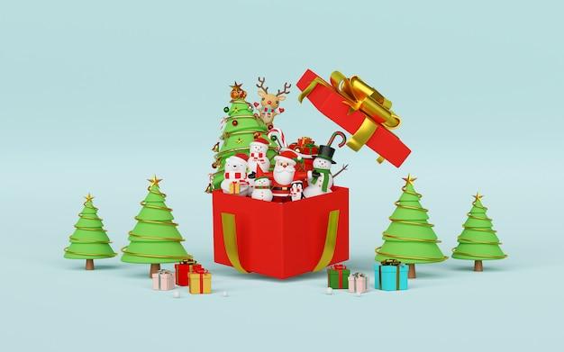 Weihnachtsfeier mit weihnachtsmann und freunden 3d rendering