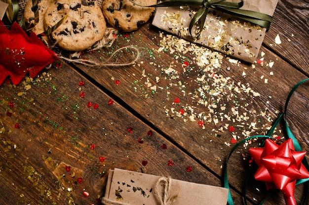 Weihnachtsfeiertagsdekorationsfläche, draufsicht.