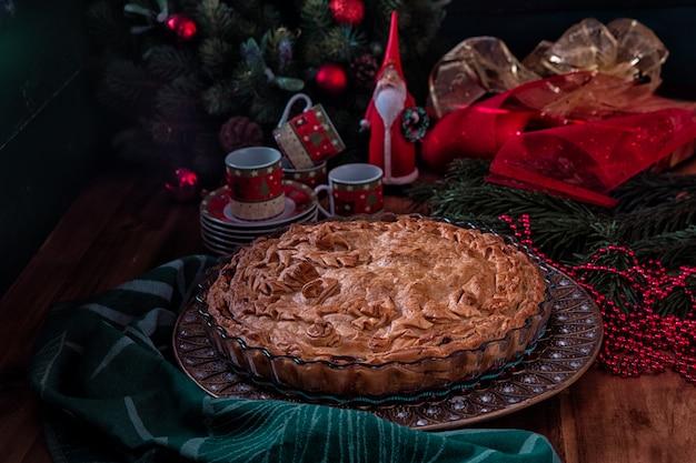 Weihnachtsfest mit hausgemachtem kuchen