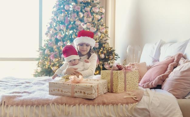 Weihnachtsfoto von kindern neujahr