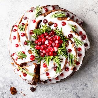Weihnachtsfruchtkuchen, pudding, backend