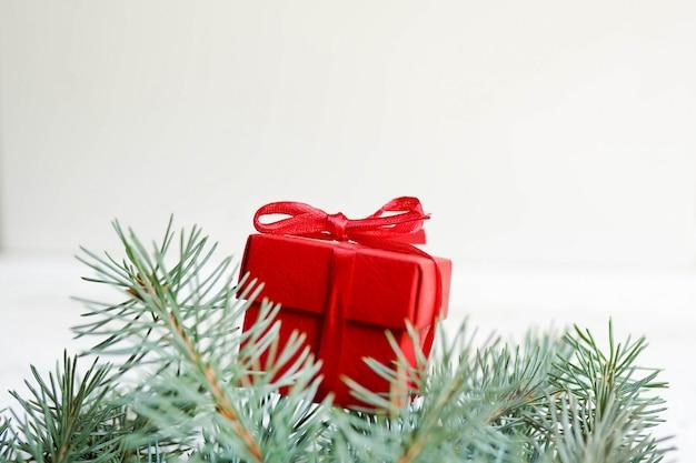 Weihnachtsgeschenk, kiefernkegel lokalisiert auf weiß. flach legen, raum kopieren