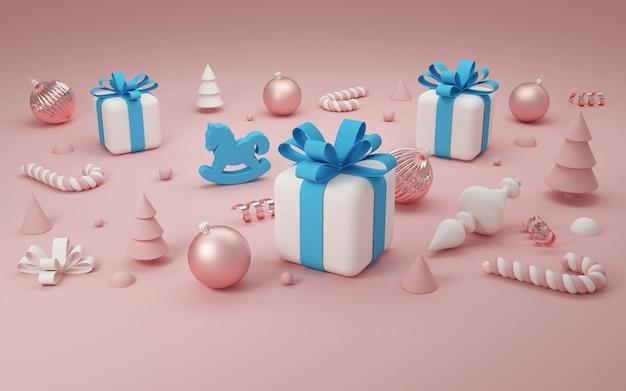 Weihnachtsgeschenkboxen und dekoration. 3d-rendering