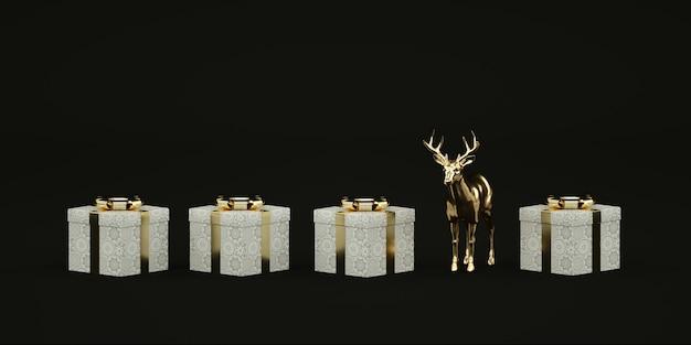Weihnachtsgeschenkboxen und metallisches goldenes reh auf schwarzer illustration